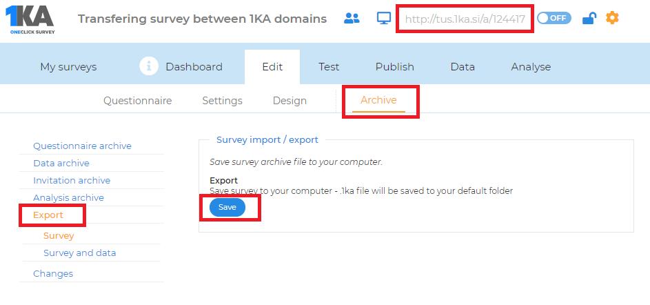 Transfer a survey between 1KA domains | 1ka